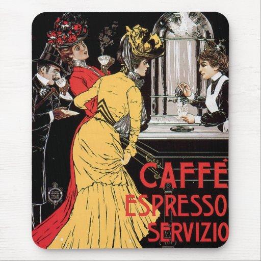 Arte del anuncio de la bebida del café del vintage tapete de raton