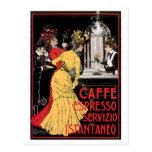 Arte del anuncio de la bebida del café del vintage tarjeta postal