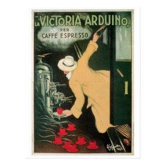 Arte del anuncio de la bebida del café del vintage postal