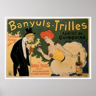 Arte del anuncio de la bebida del vino del vintage poster