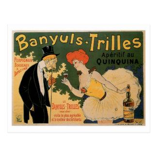 Arte del anuncio de la bebida del vino del vintage postal