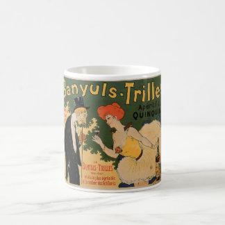 Arte del anuncio de la bebida del vino del vintage taza
