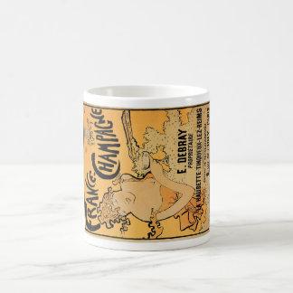Arte del anuncio de la bebida del vino del vintage tazas