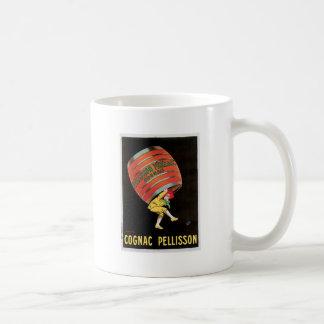 Arte del anuncio de la bebida del vino del vintage taza de café