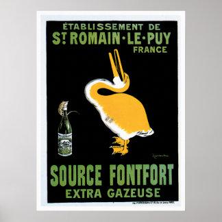 Arte del anuncio de la bebida del vintage de Fontf Póster
