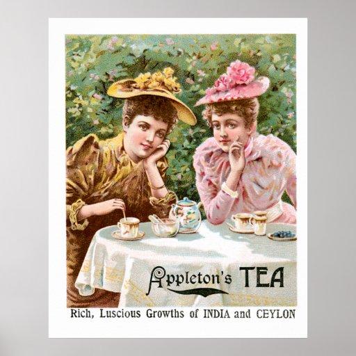 Arte del anuncio de la bebida del vintage del té