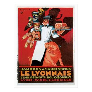 Arte del anuncio de la comida de Pork Ham Le Lyonn Postal