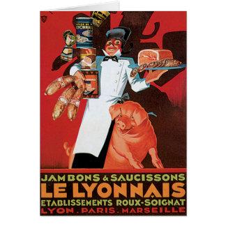 Arte del anuncio de la comida de Pork Ham Le Tarjeta De Felicitación