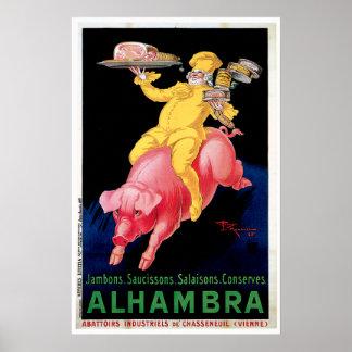 Arte del anuncio de la comida del vintage de Alham Póster