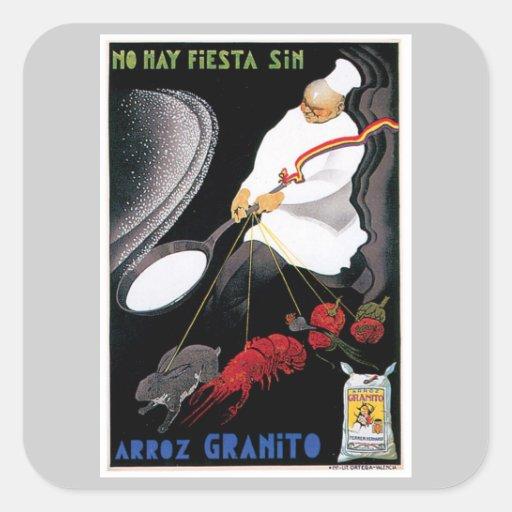 Arte del anuncio de la comida del vintage de Arroz Colcomanias Cuadradass