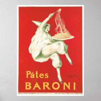 Arte del anuncio de la comida del vintage de Baron Póster