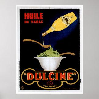 Arte del anuncio de la comida del vintage de Huile Póster