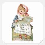 Arte del anuncio de la comida del vintage de la pegatina cuadrada