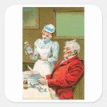 Arte del anuncio de la comida del vintage de las colcomanias cuadradases