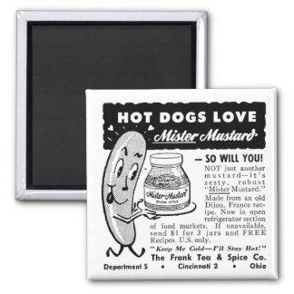 Arte del anuncio del amor del perrito caliente del imán cuadrado