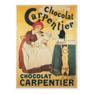 Arte del anuncio del chocolate caliente del vintag tarjeta postal