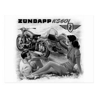 Arte del anuncio del coche lateral de la motocicle tarjeta postal