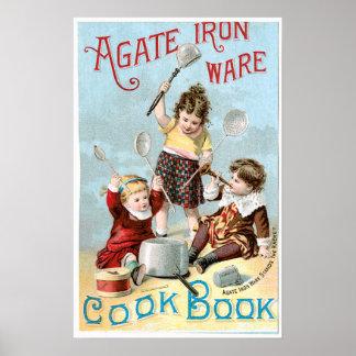 Arte del anuncio del libro de cocina del vintage d póster