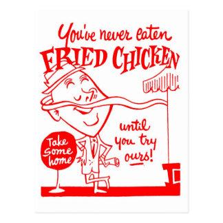 Arte del anuncio del pollo frito del vintage del postales