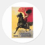 Arte del anuncio del vino del vintage de Canciani Pegatinas Redondas