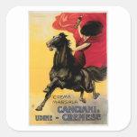Arte del anuncio del vino del vintage de Canciani Calcomanías Cuadradass