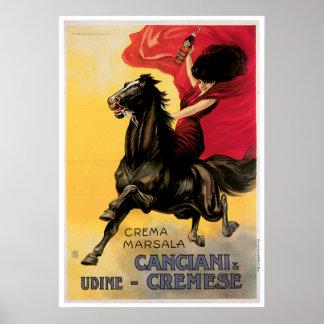 Arte del anuncio del vino del vintage de Canciani  Póster