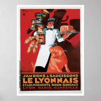 Arte del anuncio del vintage de la comida de Ham Póster