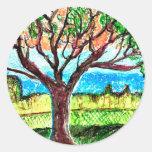 Arte del árbol pegatina redonda