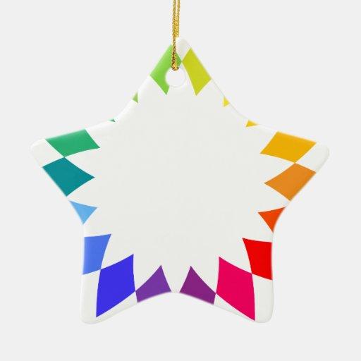 Arte del arco iris adorno navideño de cerámica en forma de estrella
