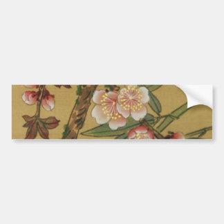 Arte del asiático de la antigüedad de las flores d etiqueta de parachoque