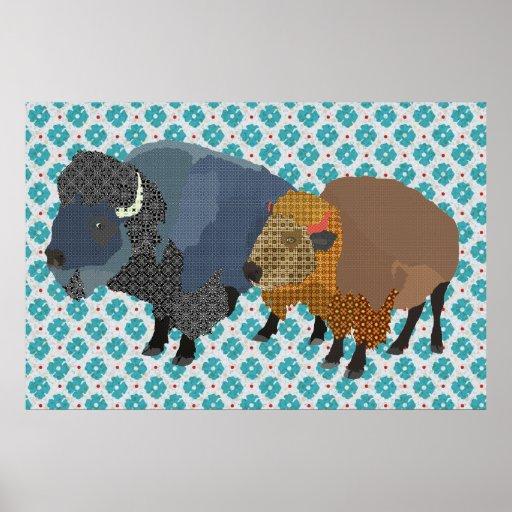 Arte del azul del búfalo impresiones
