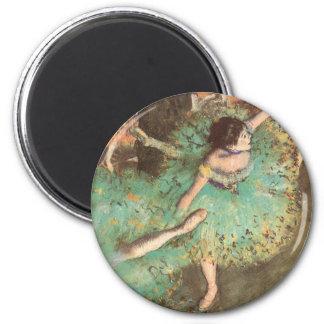 Arte del ballet del vintage, bailarín verde de imán redondo 5 cm