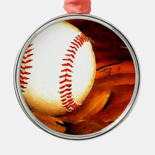 Arte del béisbol adorno navideño redondo de metal