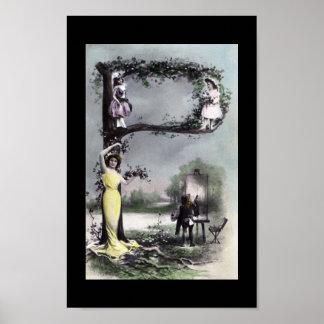 Arte del bloque del monograma del alfabeto del vin póster