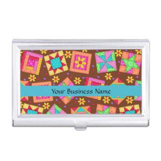 Arte del bloque del remiendo del edredón en el cajas de tarjetas de presentación
