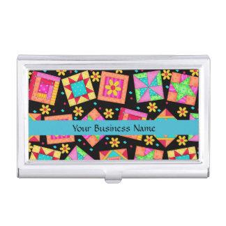 Arte del bloque del remiendo del edredón en fondo caja de tarjetas de negocios