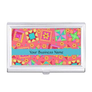 Arte del bloque del remiendo del edredón en fondo cajas de tarjetas de presentación