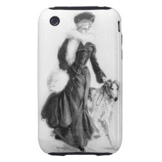 Arte del Borzoi de la moda del vintage Carcasa Though Para iPhone 3