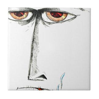 Arte del bosquejo del dibujo de la cara hecho a azulejo cuadrado pequeño