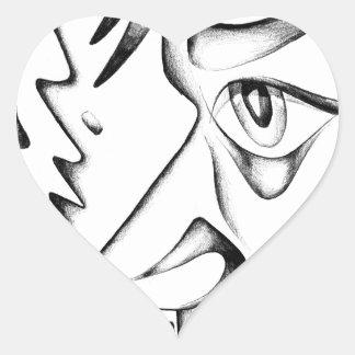 Arte del bosquejo del dibujo de la cara hecho a pegatina en forma de corazón