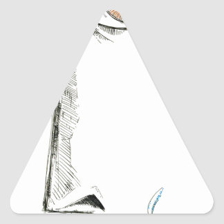Arte del bosquejo del dibujo de la cara hecho a pegatina triangular