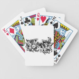 Arte del bosquejo del dibujo de la flor hecho a baraja cartas de poker