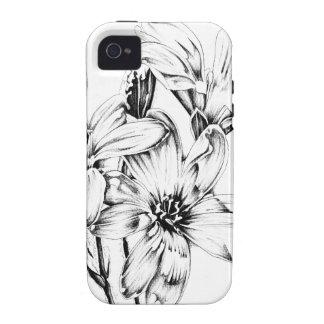 Arte del bosquejo del dibujo de la flor hecho a Case-Mate iPhone 4 carcasa