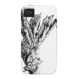Arte del bosquejo del dibujo de la flor hecho a Case-Mate iPhone 4 fundas