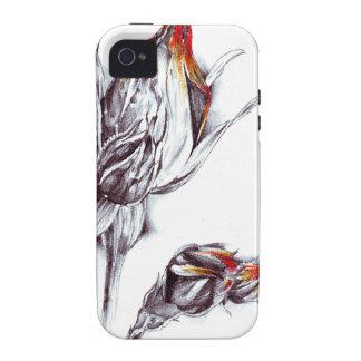 Arte del bosquejo del dibujo de la flor hecho a vibe iPhone 4 fundas