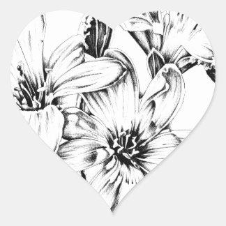 Arte del bosquejo del dibujo de la flor hecho a pegatina en forma de corazón