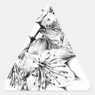 Arte del bosquejo del dibujo de la flor hecho a pegatina triangular