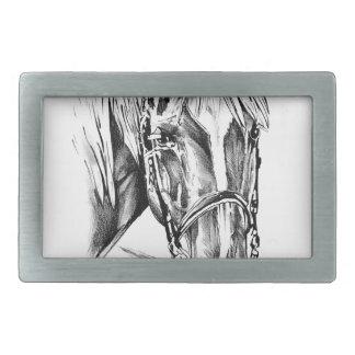 Arte del bosquejo del dibujo del caballo hecho a hebillas de cinturon rectangulares