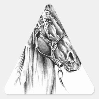 Arte del bosquejo del dibujo del caballo hecho a pegatina triangular