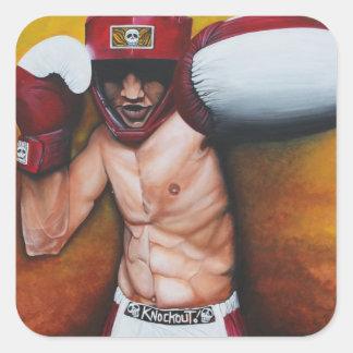 Arte del boxeo pegatina cuadrada